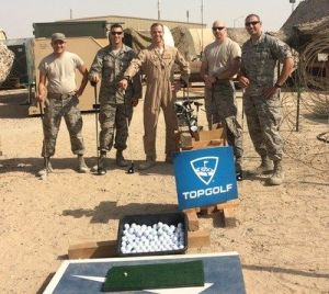 Topgolf donated 11,000 left- and right-handed golf clubs, 600 yards of turf squares and 21,000 golf balls to the troops.